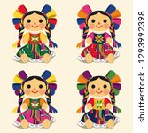 mexican traditional doll  maria ... | Shutterstock .eps vector #1293992398