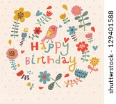 beautiful happy birthday... | Shutterstock .eps vector #129401588