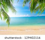 palm and tropical beach | Shutterstock . vector #129402116