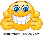 big smile emoticon with thumbs... | Shutterstock .eps vector #1294027525
