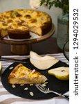piece of pear pie with vanilla...   Shutterstock . vector #1294029532