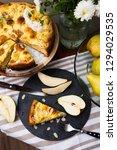 top view of piece of pear pie...   Shutterstock . vector #1294029535