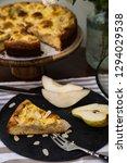 piece of pear pie with vanilla...   Shutterstock . vector #1294029538