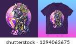 cyber woman. cyberpunk print... | Shutterstock .eps vector #1294063675