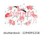 tropical flamingo vector summer ... | Shutterstock .eps vector #1294091218