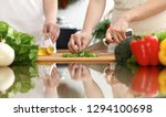 closeup of human hands cooking... | Shutterstock . vector #1294100698
