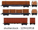 goods van  train  23  pixel... | Shutterstock .eps vector #129413918