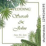 wedding invitation with leaves... | Shutterstock .eps vector #1294144195