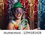 masquerade woman celebrating... | Shutterstock . vector #1294181428