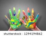 painted hands  colorful fun....   Shutterstock . vector #1294194862