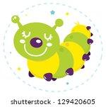 cute cartoon caterpillar vector ...   Shutterstock .eps vector #129420605