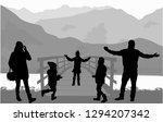 silhouette family on a walk. | Shutterstock .eps vector #1294207342