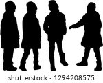 children of silhouettes. | Shutterstock .eps vector #1294208575