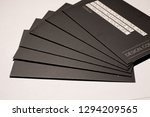 black business cards on white...