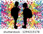 silhouette of a child with a... | Shutterstock .eps vector #1294215178