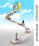 business people on 3d book stair | Shutterstock . vector #129422102