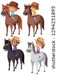 set of children riding horse... | Shutterstock .eps vector #1294251895