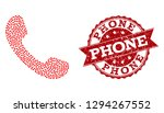 mosaic phone created with red... | Shutterstock .eps vector #1294267552