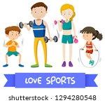 group of sport family...   Shutterstock .eps vector #1294280548