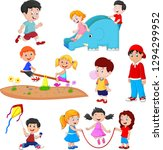 cartoon kids playing  | Shutterstock .eps vector #1294299952