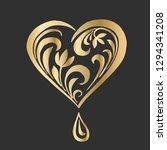 ornate vector heart in floral...   Shutterstock .eps vector #1294341208
