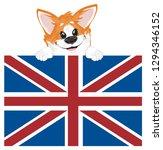 snout of corgi peek up from flag | Shutterstock . vector #1294346152
