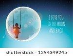 silhouette of little girl on a... | Shutterstock .eps vector #1294349245