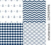 Navy vector seamless patterns set: scallop, waves, anchors, chevron - stock vector