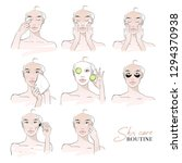 skin care routine. different... | Shutterstock .eps vector #1294370938