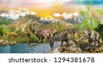 Dinosaurs In The Park By The...