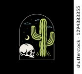 skull and cactus badge | Shutterstock . vector #1294383355