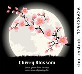 cherry blossom branch in front... | Shutterstock .eps vector #129438626