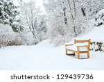 park bench and trees covered by ... | Shutterstock . vector #129439736