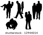 couples silhouettes | Shutterstock .eps vector #12944014