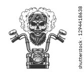 Bearded And Mustached Biker...