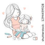 mother and daughter read a book.... | Shutterstock .eps vector #1294459528