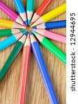 Small photo of assorted colour pencils close up makin a circle