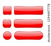 red glass buttons. web 3d shiny ... | Shutterstock .eps vector #1294497778