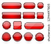 red glass buttons with metal... | Shutterstock .eps vector #1294497805