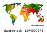 abstract world map of polygons... | Shutterstock . vector #1294507378