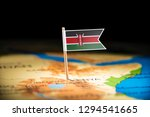 kenya marked with a flag on the ... | Shutterstock . vector #1294541665