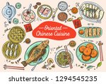 hand drawn chinese food  vector ... | Shutterstock .eps vector #1294545235