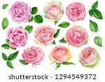 pink spring flowers  vintage... | Shutterstock . vector #1294549372
