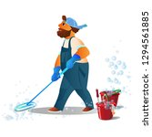 cleaning service. bearded...   Shutterstock .eps vector #1294561885