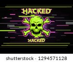 poster with hacked skull  virus ... | Shutterstock .eps vector #1294571128