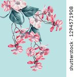 beautiful floral composing with ... | Shutterstock . vector #1294571908