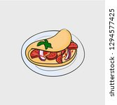 omelette fast food concept line ...