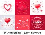 digital vector red heart... | Shutterstock .eps vector #1294589905