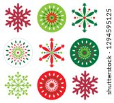 red and green color snowflakes...   Shutterstock .eps vector #1294595125