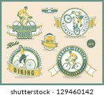vintage bicycle labels  vector... | Shutterstock .eps vector #129460142